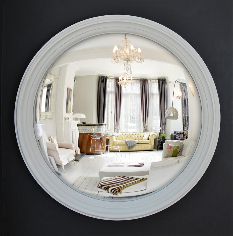 Large Lucca Decorative Convex Mirror in off white finish image