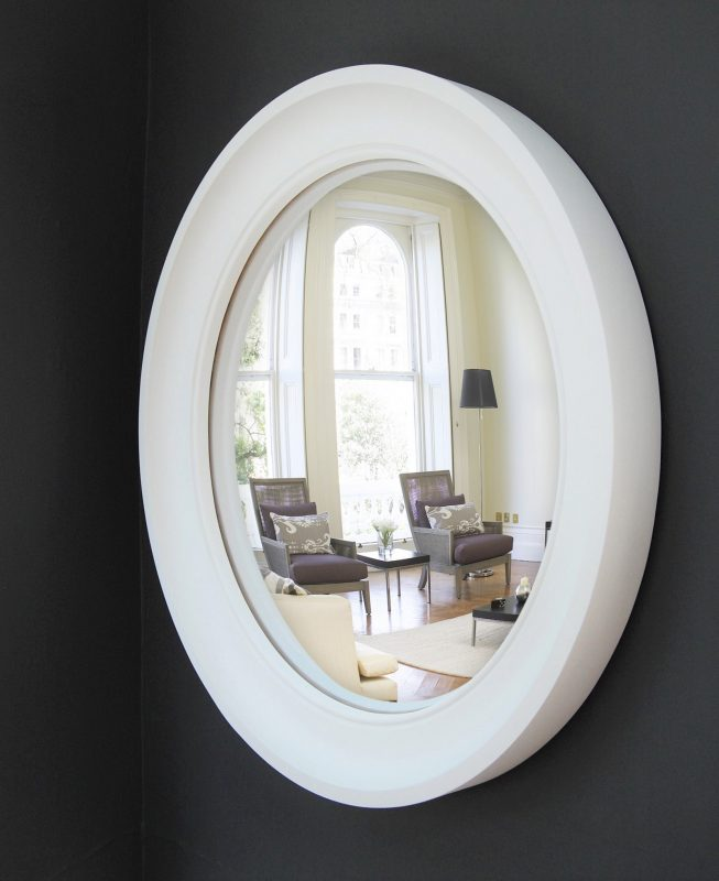 Large Cavetto convex mirror in off white finish image
