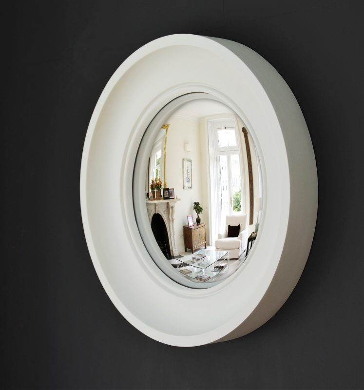 Small Cavetto decorative convex mirror in off white finish image