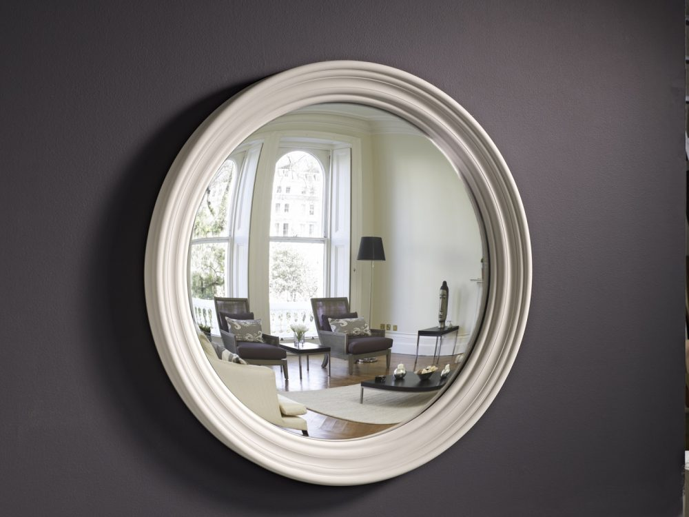 Large Roma convex mirror in palest grey finish image