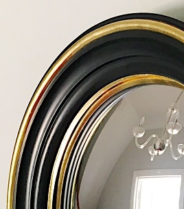 black blue framed convex mirror image