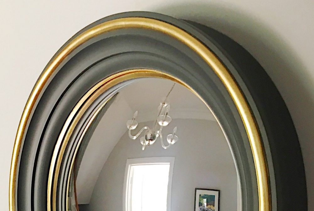 Grey round convex mirror image