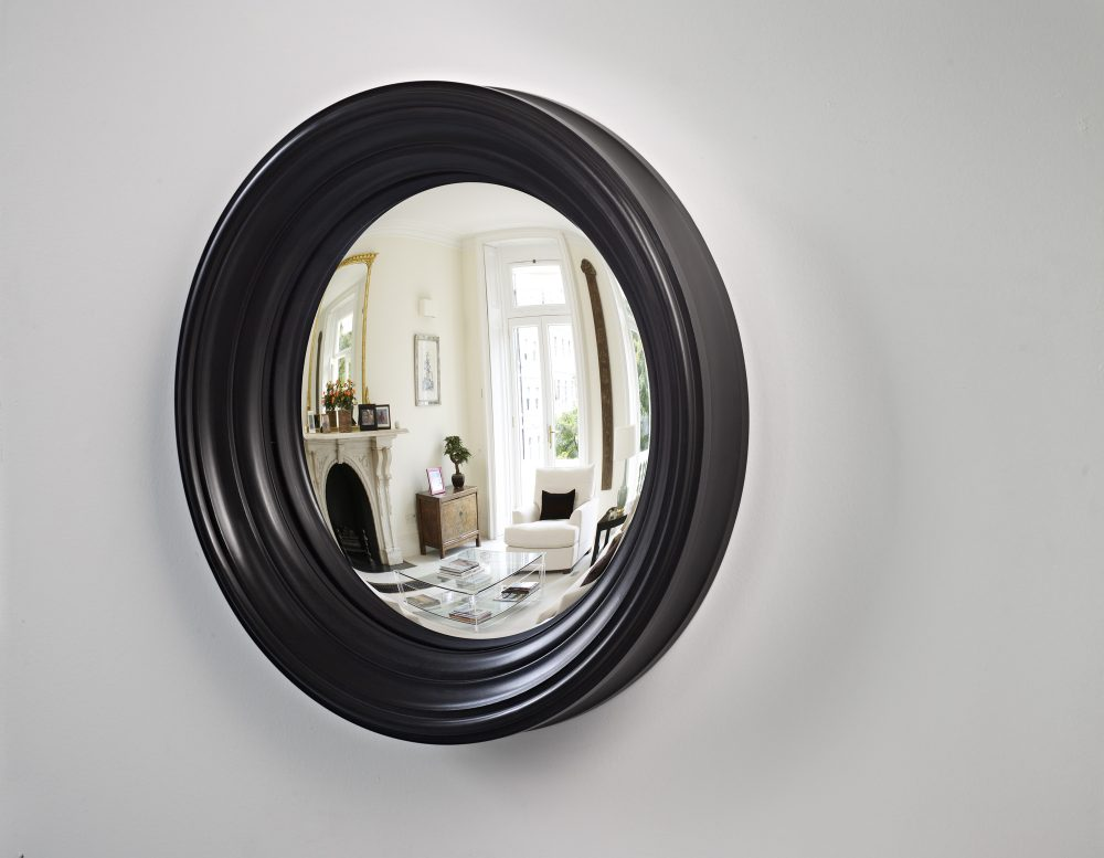 Medium Lucca convex wall mirror in waxed black finish image