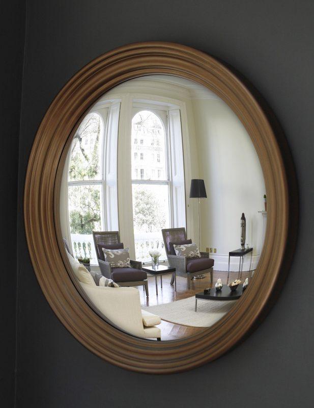 Large Roma convex mirror in bronze finish image