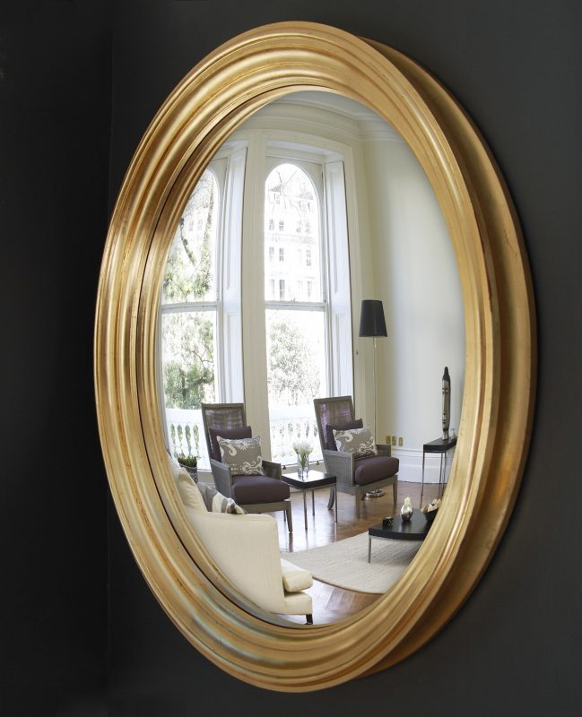 Large Lucca convex mirror in gold leaf finish image