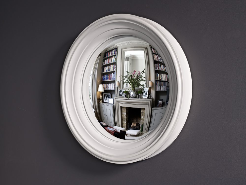 Medium Lucca convex wall mirror in palest grey finish image