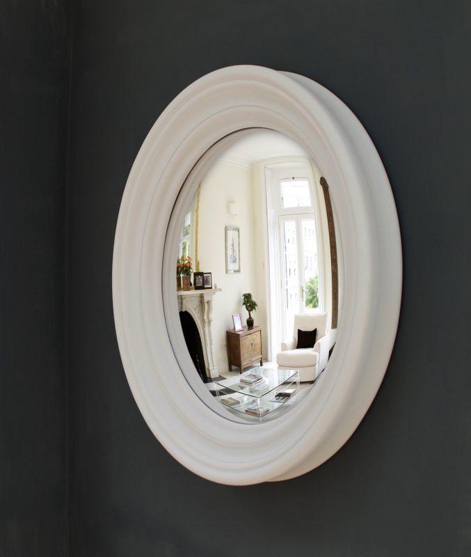 Medium Roma convex mirror in palest grey finish image