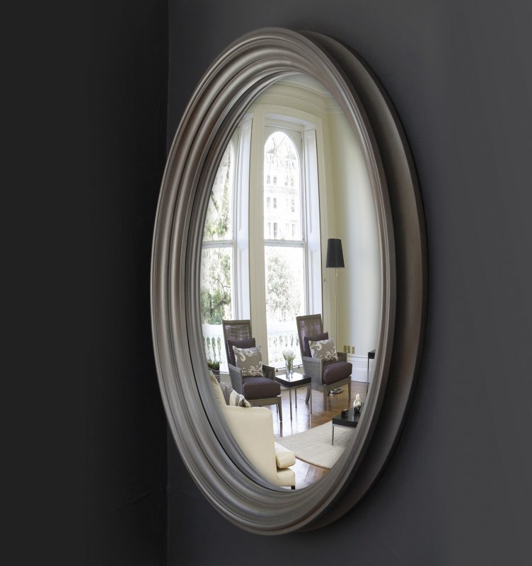 Large Lucca convex mirror in pewter finish image