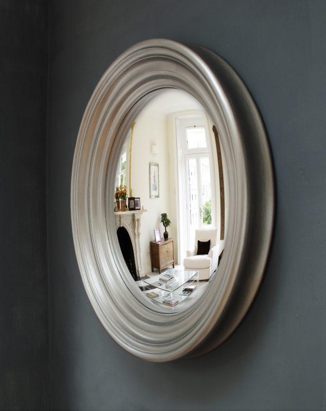Medium Roma convex mirror in pewter finish image
