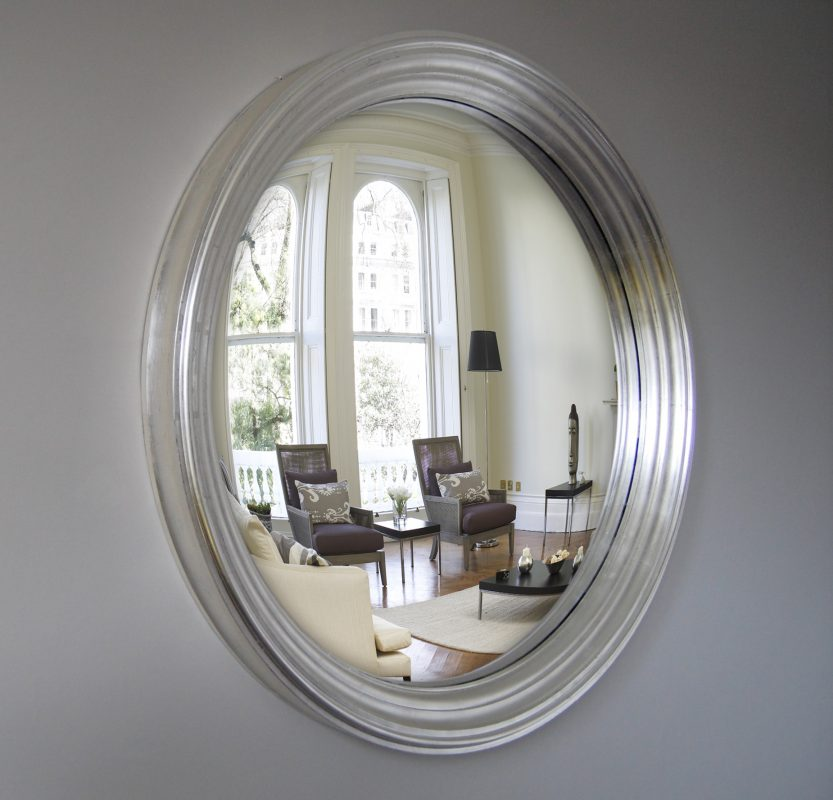Large Lucca convex mirror in silver leaf finish image