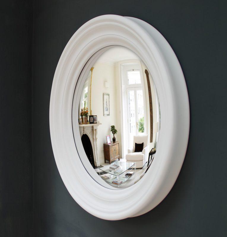 Medium Roma convex mirror in off white finish image