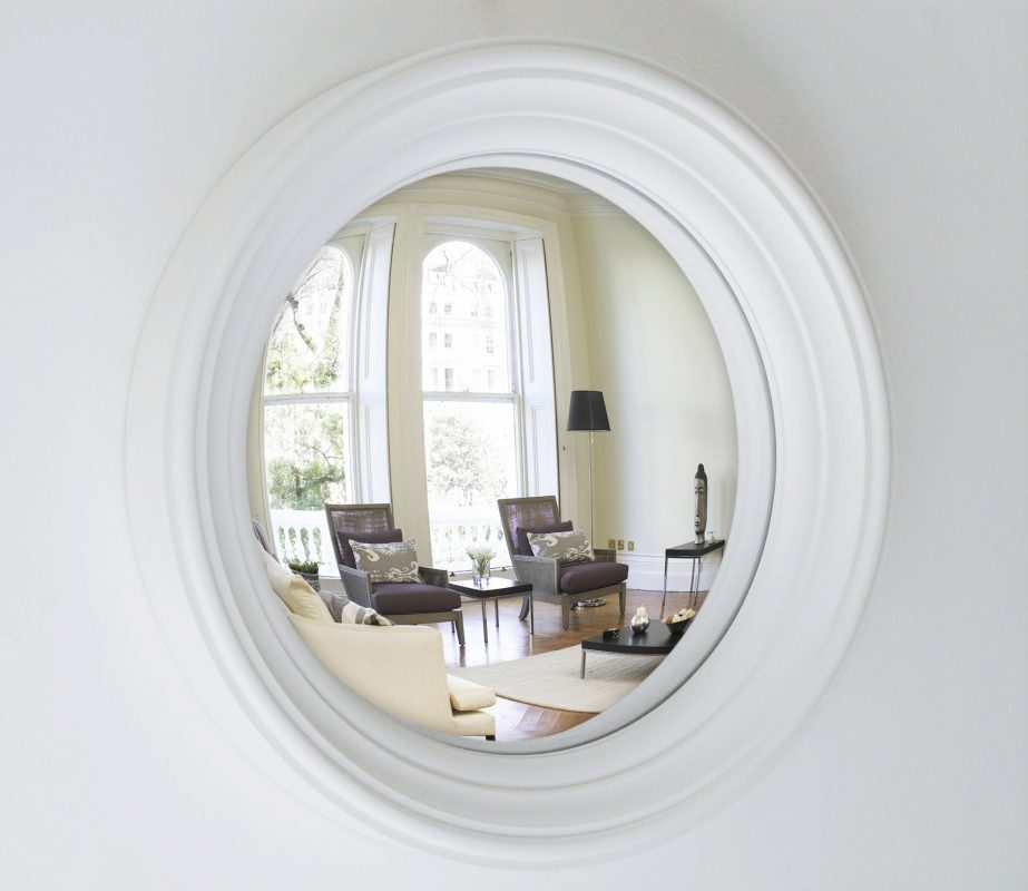 Medium Lucca convex mirror in off white finish image