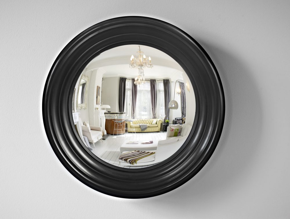 Medium Lucca decorative convex mirror in waxed black finish image