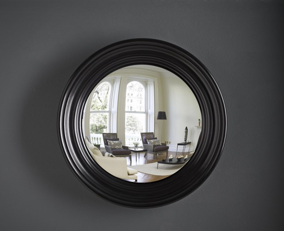 Medium Roma decorative convex mirror in waxed black finish image