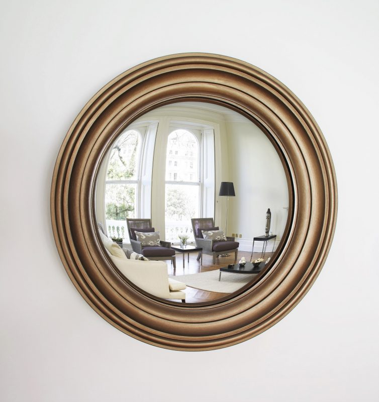 Medium Lucca decorative convex mirror in bronze finish image