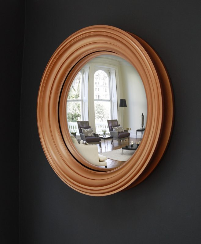 Medium Lucca decorative convex mirror in copper finish image