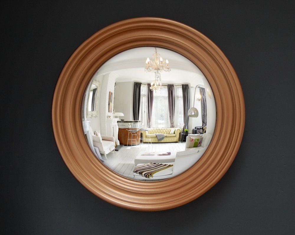 Medium Roma decorative convex mirror in copper finish image