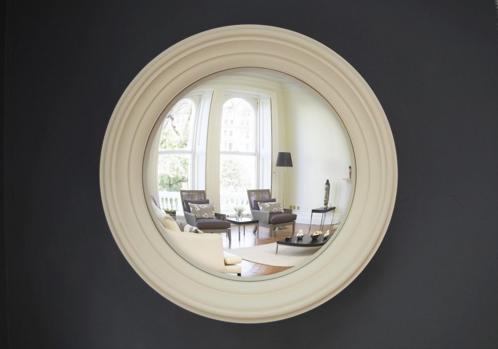 Medium Lucca decorative convex mirror in fawn finish image