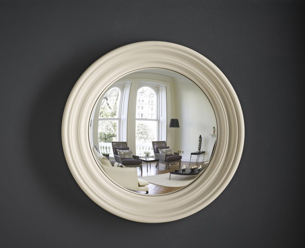Medium Roma decorative convex mirror in fawn finish image