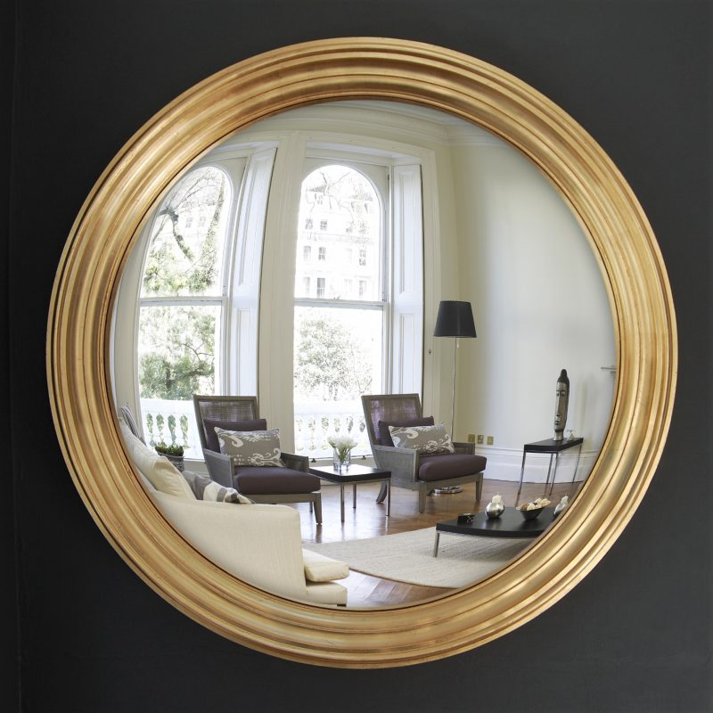 Large Lucca decorative convex mirror in gold leaf finish image