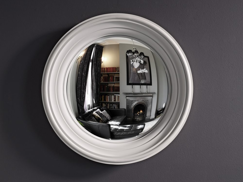 Image of Medium Lucca decorative convex mirror in palest grey finish