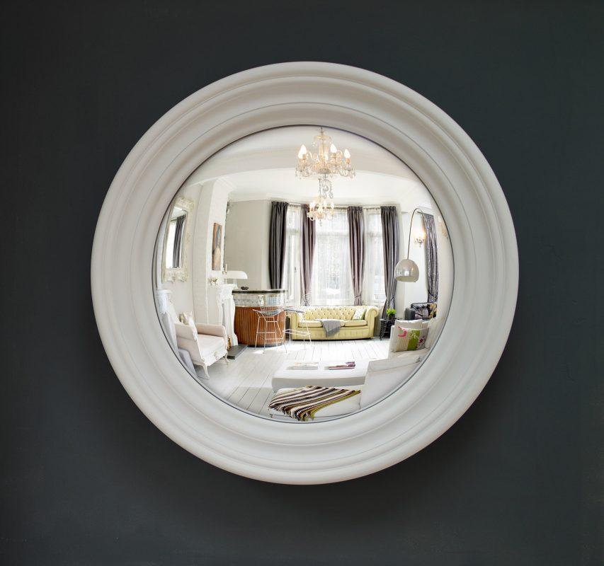 Medium Roma decorative convex mirror in palest grey finish image
