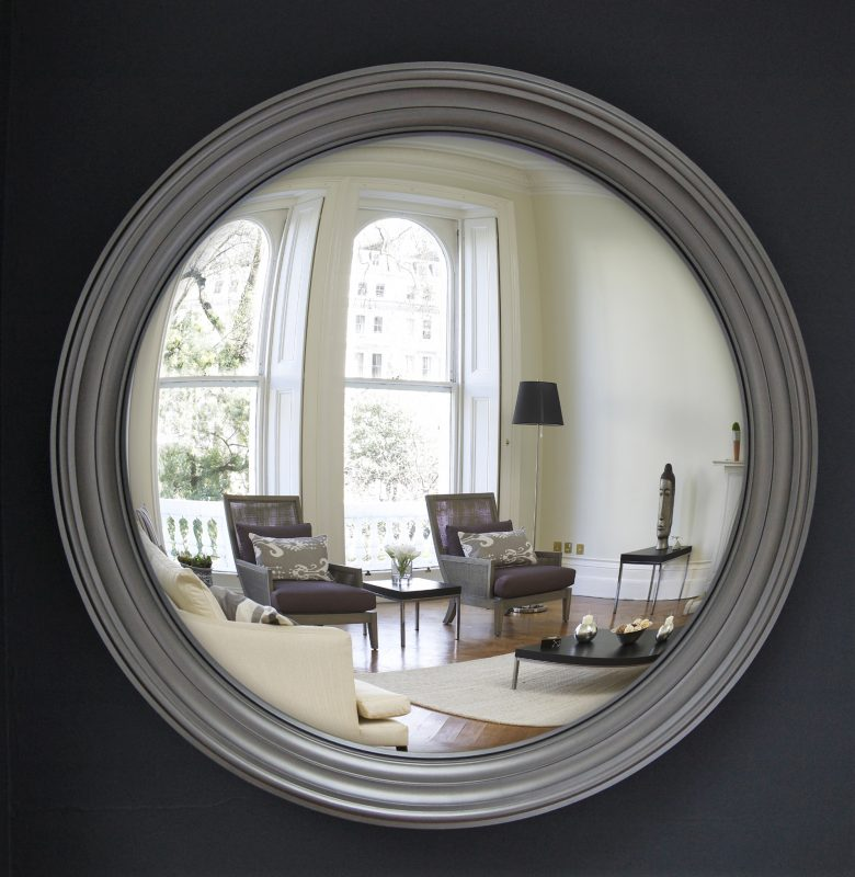 Large Lucca decorative convex mirror in pewter finish image