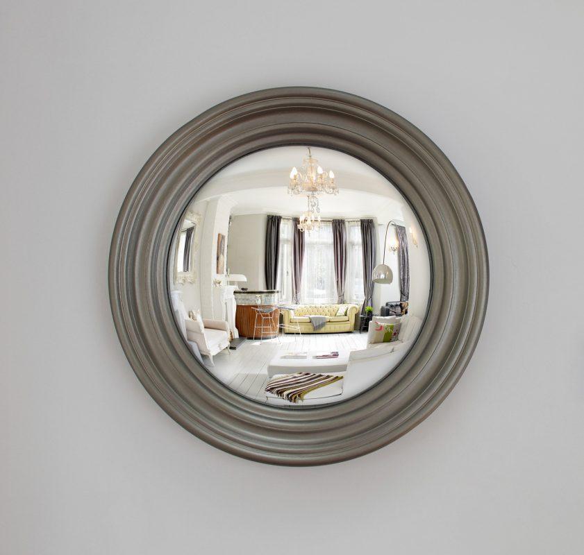 Medium Roma decorative convex mirror in pewter finish image