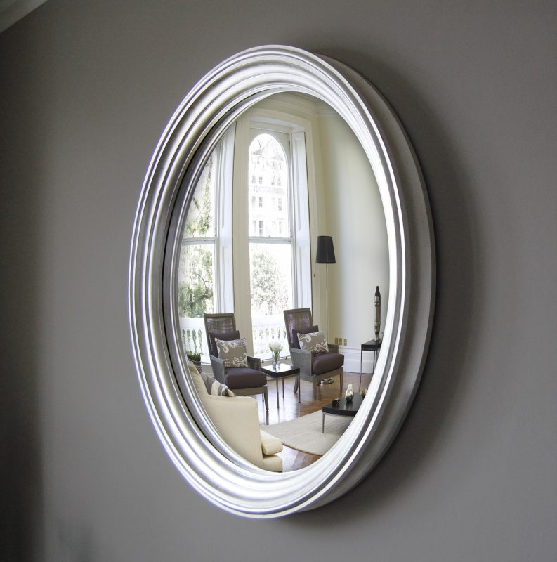 Large Lucca decorative convex mirror in silver leaf finish image