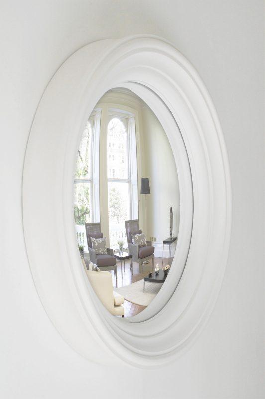 Medium Lucca Decorative Convex Mirror in off white finish image