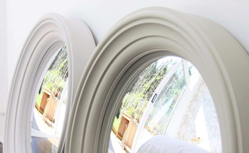 Image of a pair of Medium Lucca Decorative Convex Mirror in off white finish and fawn finish