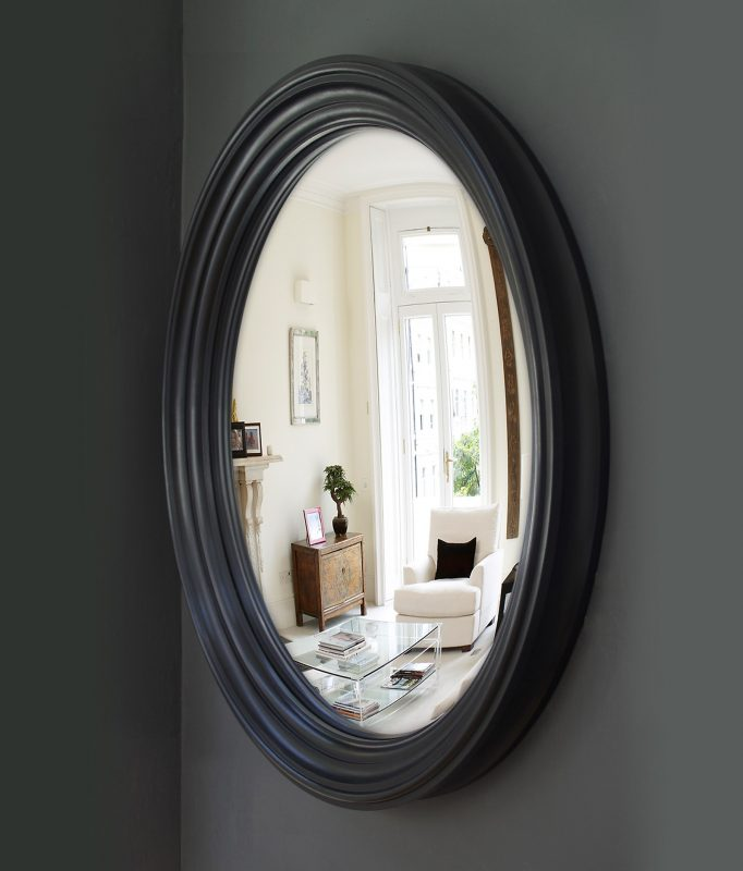 Large Lucca Convex Mirror in waxed black finish image