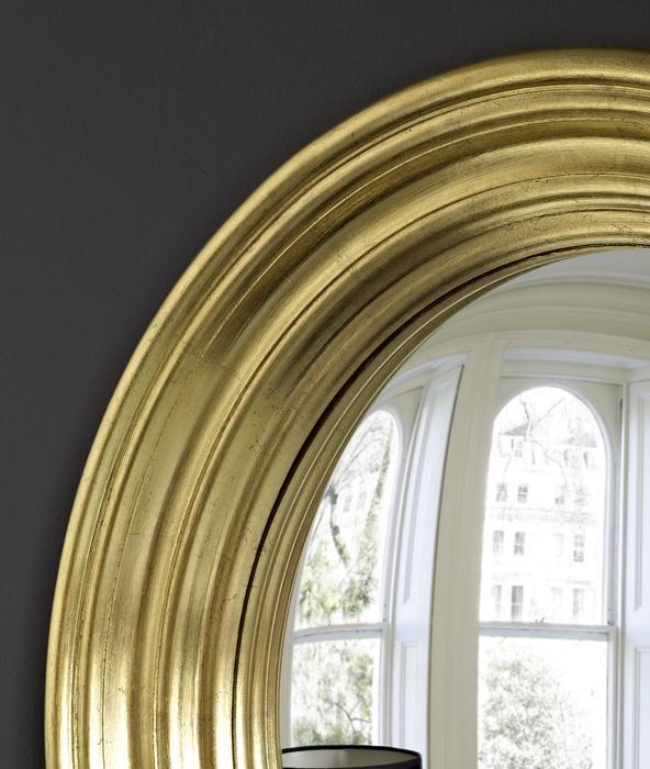 Medium Roma convex mirror in gold leaf image