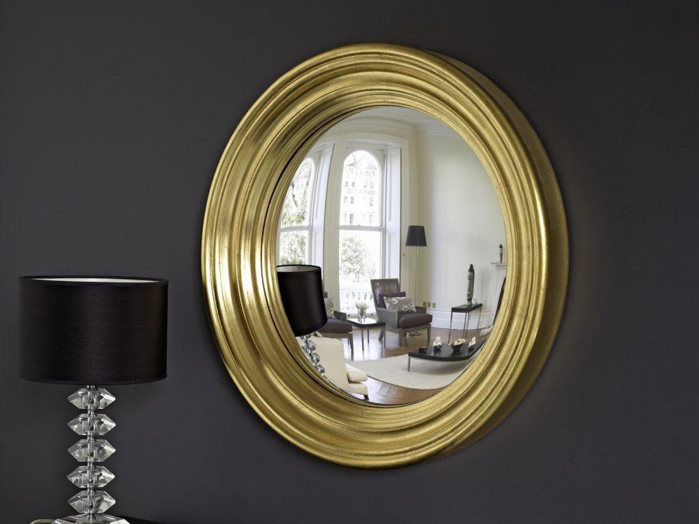 Medium Roma convex mirror in gold leaf finish image
