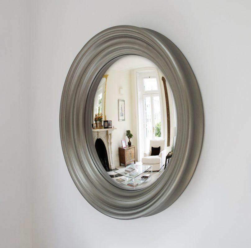 Medium Roma convex mirror in pewter image