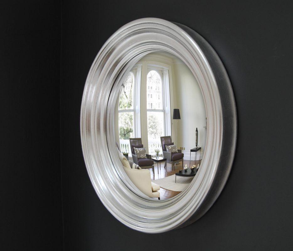 Medium Roma convex mirror in silver leaf finish image