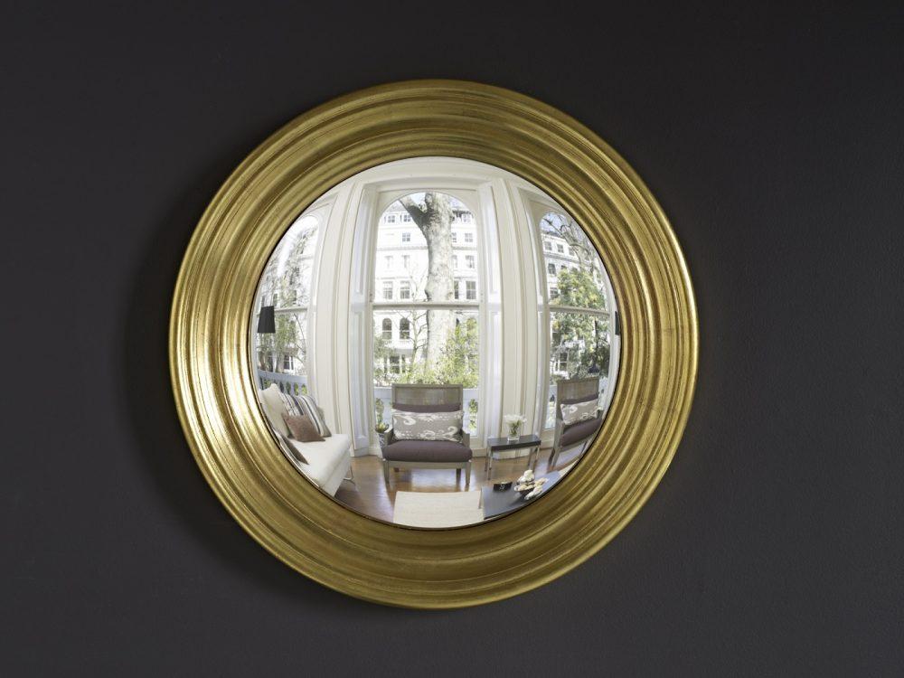 Medium Roma decorative convex mirror in gold leaf finish image