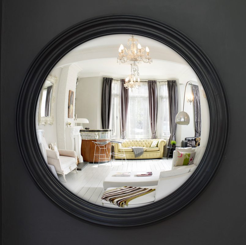 Large Lucca Decorative Convex Mirror in waxed black finish image
