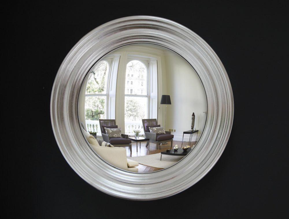 Medium Roma decorative convex mirror in silver leaf finish image
