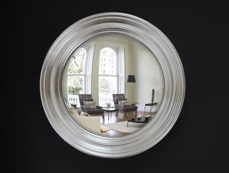 convex mirror with a silver leaf frame image