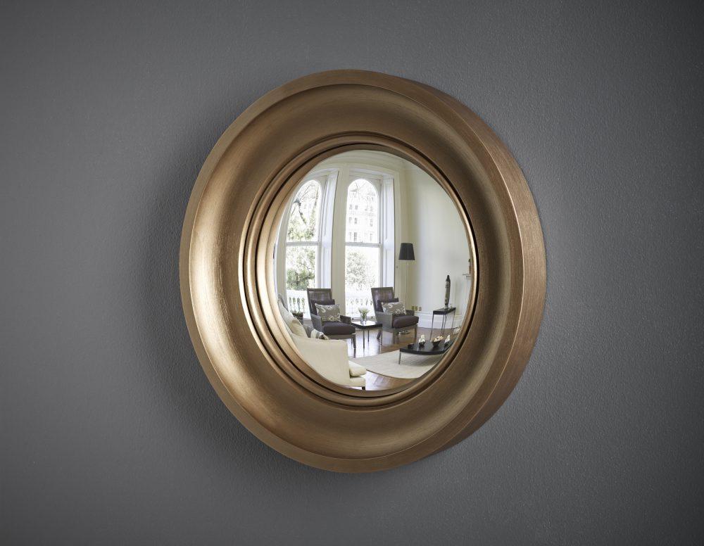 Small decorative convex mirror in bronze finish image