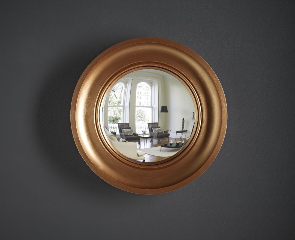 Small Cavetto convex mirror in copper finish image