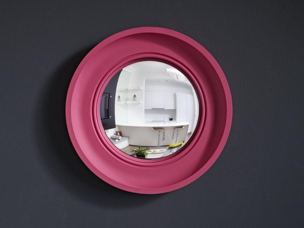 Small Cavetto convex mirror in fuchsia pink finish image