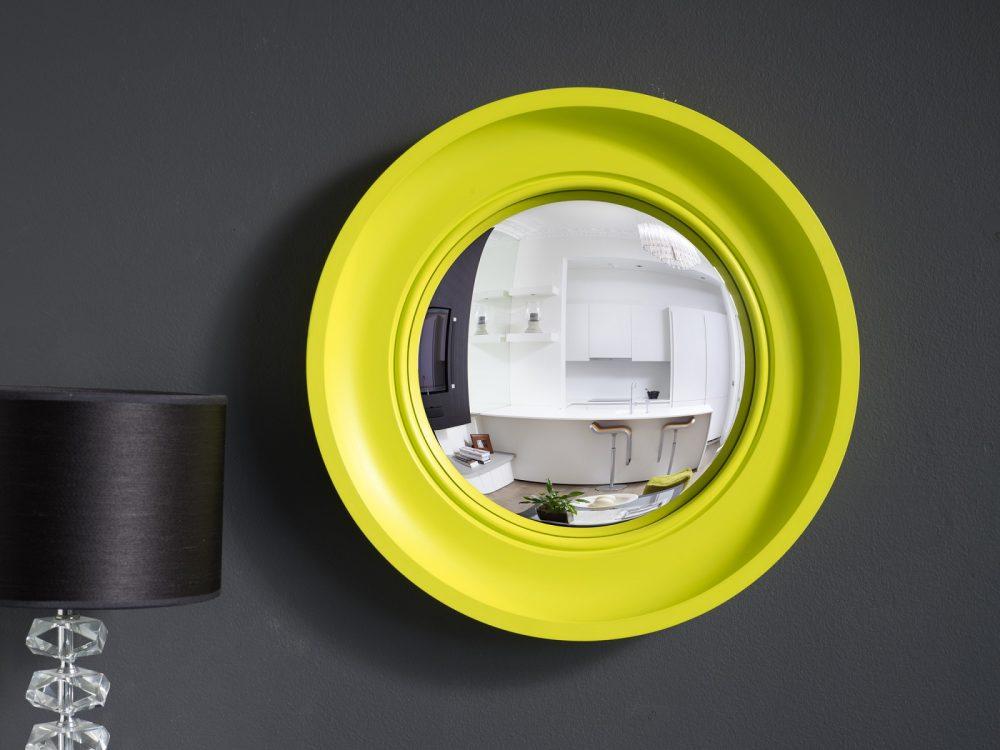 Small Cavetto convex mirror in waxed neon finish image