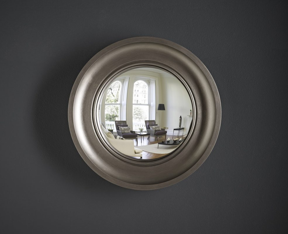 Small Cavetto convex mirror in pewter finish image
