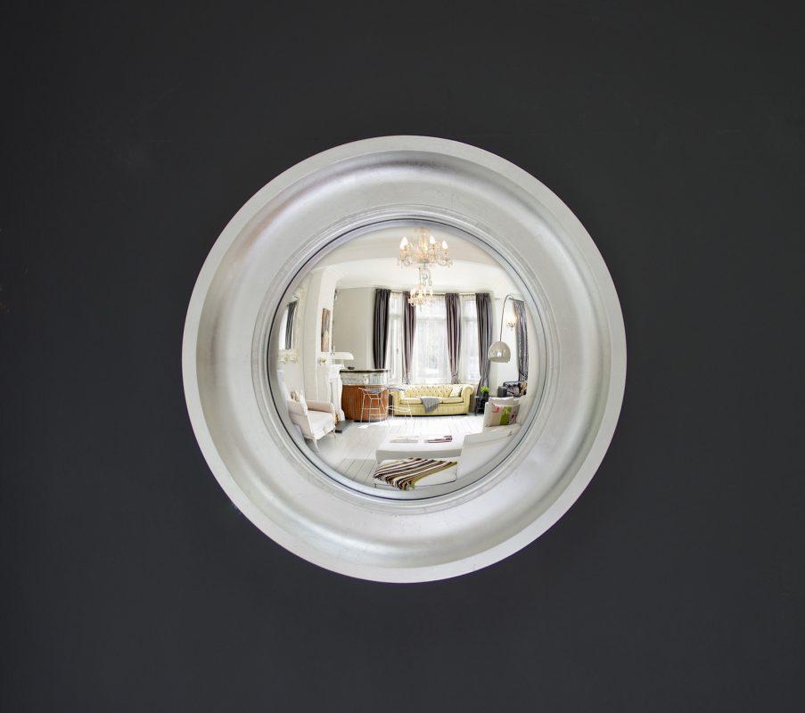 Small Cavetto convex mirror in silver leaf finish image