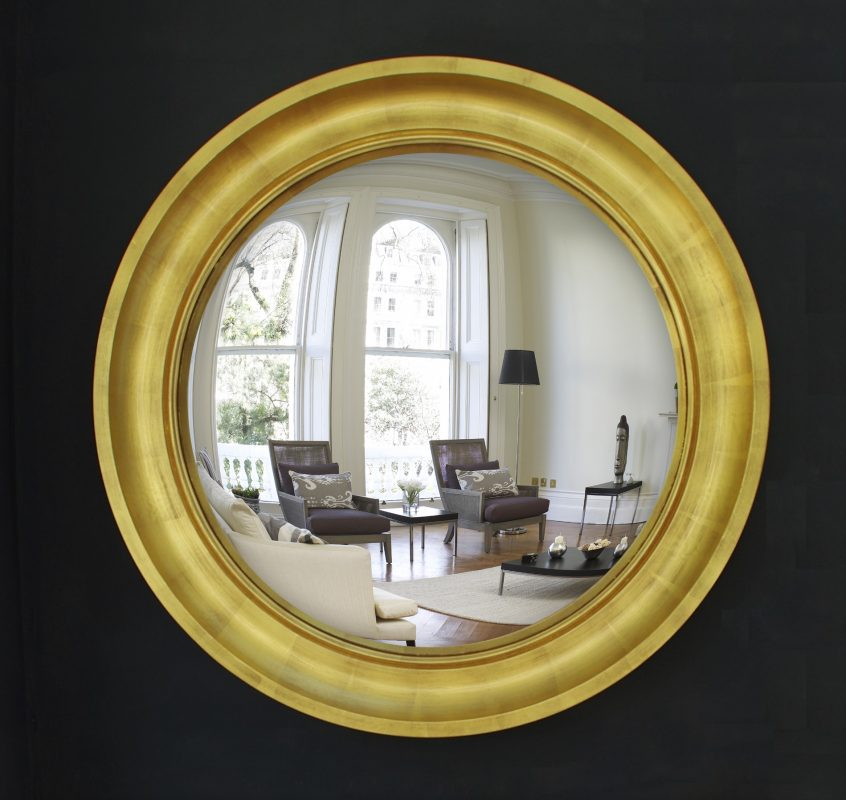 Large Cavetto convex mirror in gold leaf finish image
