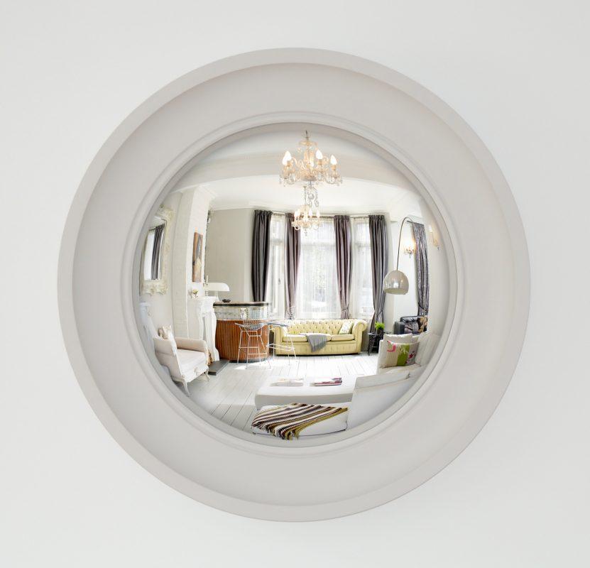 Image of Medium Cavetto convex mirror in palest grey finish