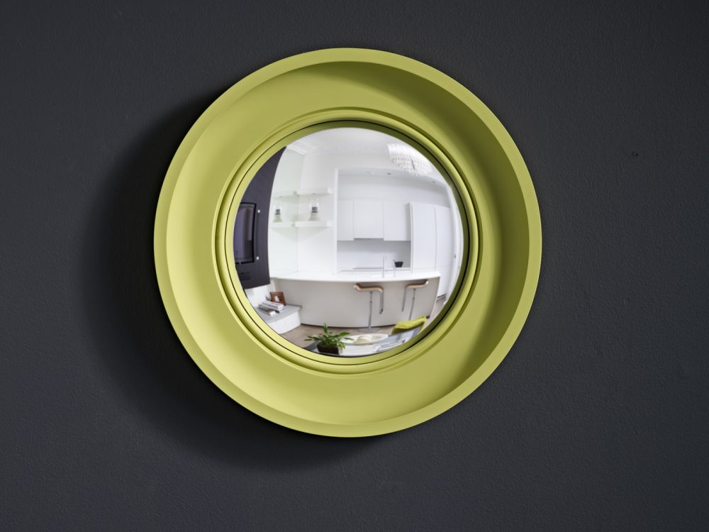 Image of Small Cavetto convex mirror in pale lime finish