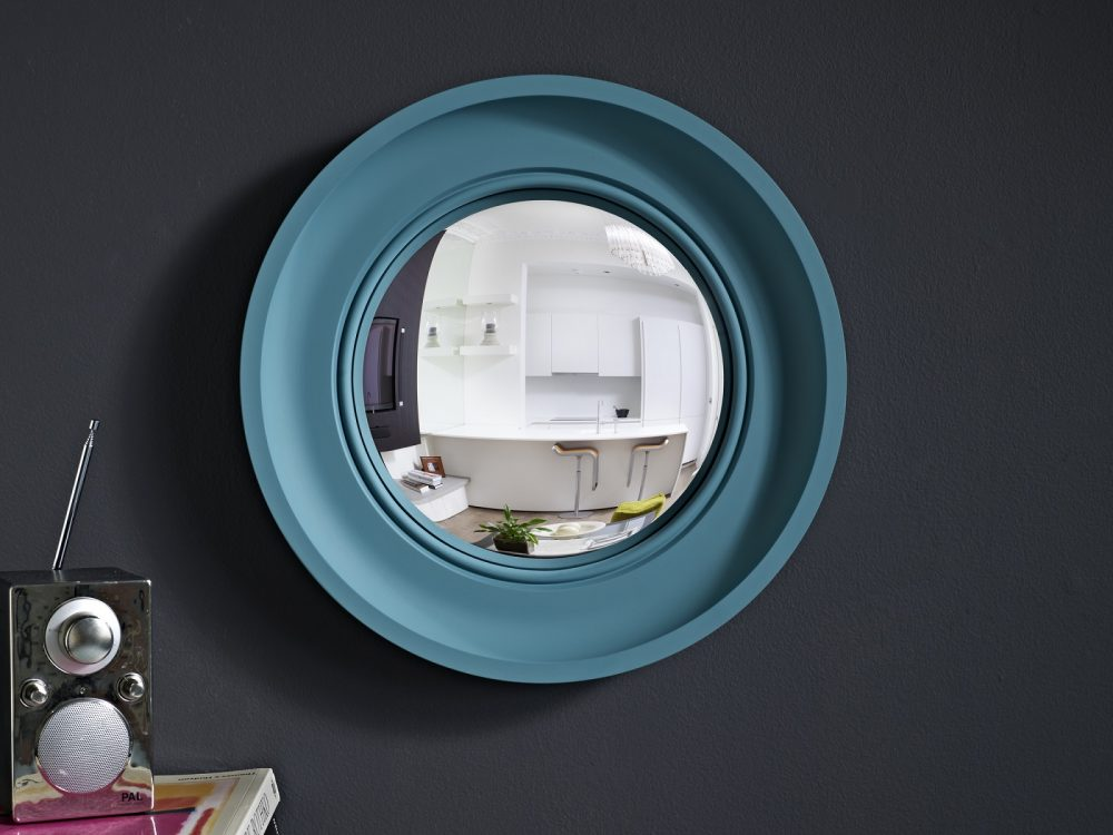 Image of Small Cavetto convex mirror in teal finish